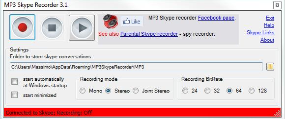 Vuoi registrare le tue telefonate di Skype? MP3 SKYPE CALL RECORDER 1