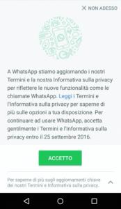 Guida su come disattivare le nuove condizioni di Whatsapp 5