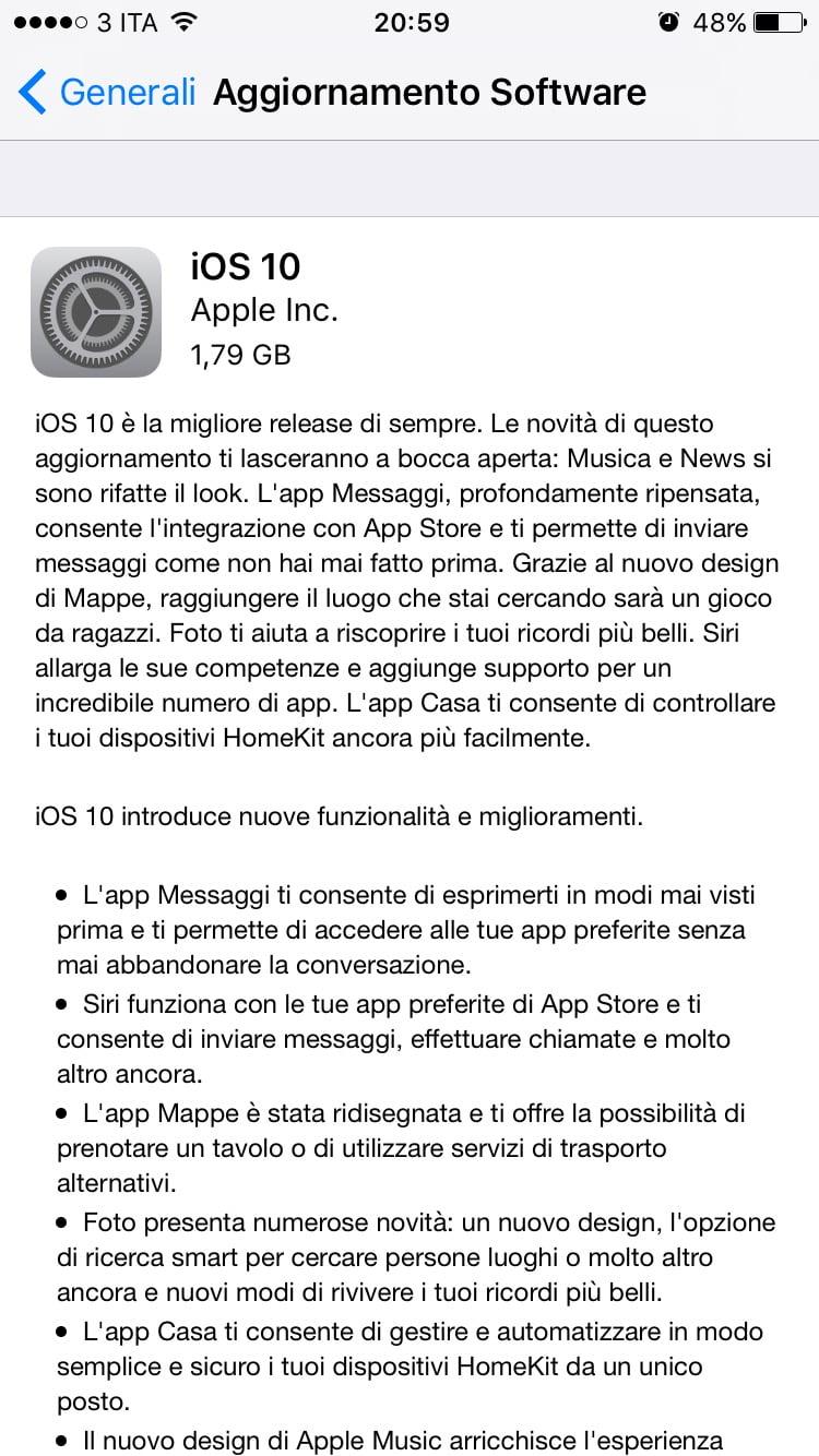 AGGIORNATO: Disponibile l'aggiornamento a iOS 10 2