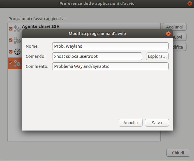 Eseguire le app come amministratore su Ubuntu 17.10 e Wayland 3