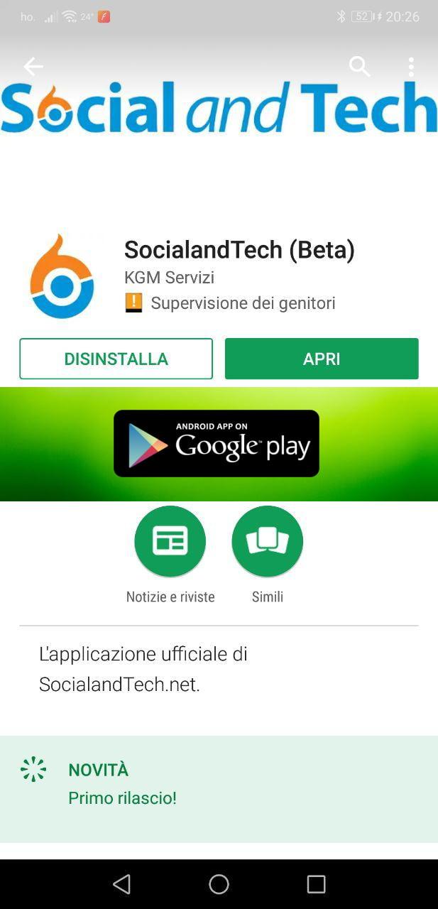 É disponibile la nuova app di SocialandTech per Android! 2