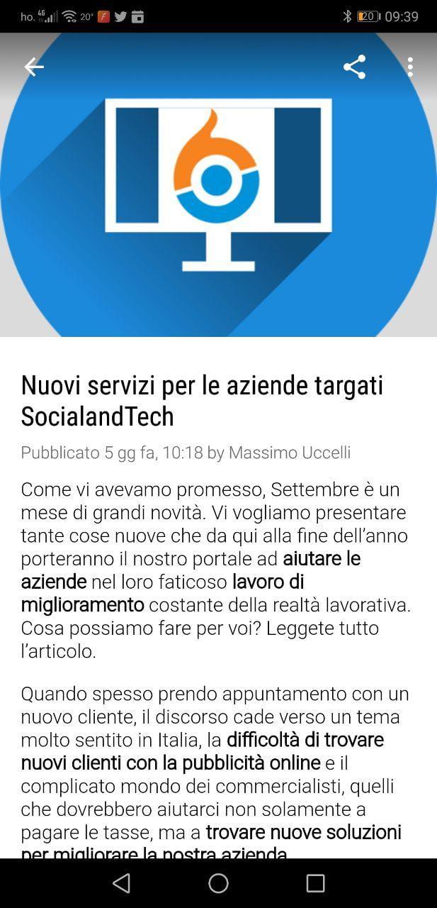 É disponibile la nuova app di SocialandTech per Android! 3