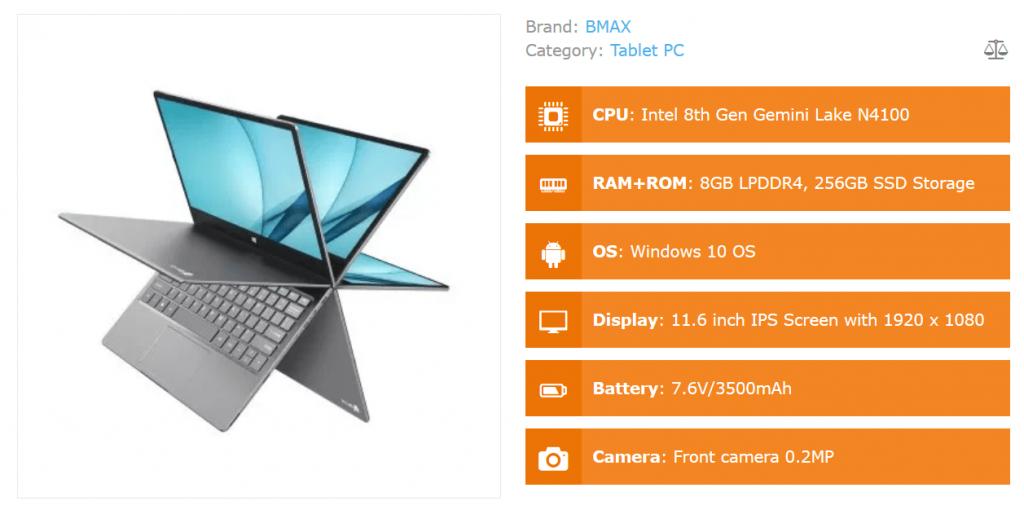 BMAX Y11 - Computer portatile Intel Gemini Lake N4100 a 360º da 11,6 pollici 2