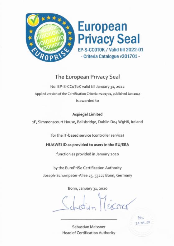 Il Huawei ID certificato dall'European Privacy Seal in Europa 2
